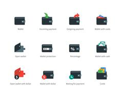 Wallet and transaction color icons on white Stock Illustration