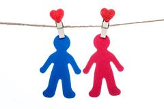 Heart  shape clip on a  twine, hanging sweet  COUPLE Stock Photos