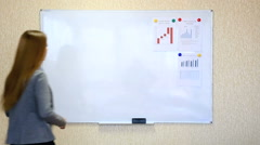 Young businesswoman makes presentation with wall chart Stock Footage