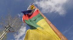 SLOW MOTION Tibetan prayer flag,Kaza,Spiti,India Stock Footage