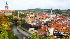 Cesky Krumlov oldtown city and river view - stock photo