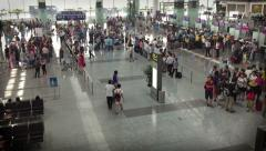 Timelapse overhead shot of people at the Noi Bai International Airport Stock Footage