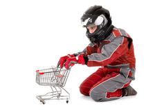 Racing driver shopping - stock photo