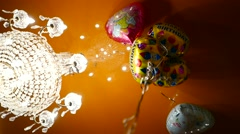 Birthday, holiday celebration flying helium balloons near the ceiling  Stock Footage