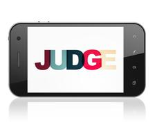 Law concept: Smartphone with Judge on  display Piirros