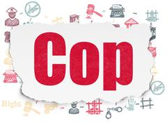 Stock Illustration of Law concept: Cop on Torn Paper background