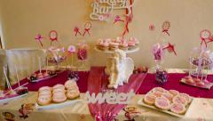 candy sweets decorations on a festive table - stock footage