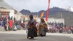 SLOW MOTION Monk dance at festival,Lamayuru,Ladakh,India Stock Footage