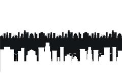 Vector black and white cities silhouette - stock illustration