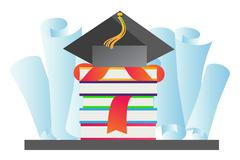 Graduation hat vector illustration - stock illustration