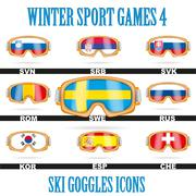 Ski goggles icons - stock illustration