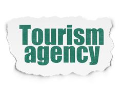Stock Illustration of Tourism concept: Tourism Agency on Torn Paper background