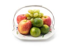 Stock Photo of Isolated platter of assorted fruit