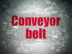 Industry concept: Conveyor Belt on Digital Paper background Stock Illustration