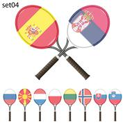 Tennis rackets and flags - stock illustration