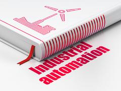 Industry concept: book Windmill, Industrial Automation on white background Stock Illustration