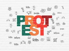Stock Illustration of Political concept: Protest on wall background
