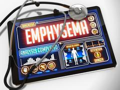 Stock Illustration of Emphysema on the Display of Medical Tablet
