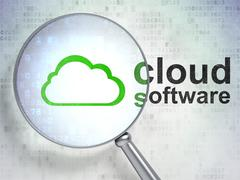 Stock Illustration of Cloud computing concept: Cloud and Cloud Software with optical glass