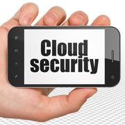 Cloud computing concept: Hand Holding Smartphone with Cloud Security on display Stock Illustration