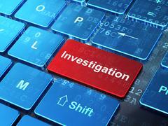Science concept: Investigation on computer keyboard background Stock Illustration