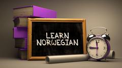 Learn Norwegian - Chalkboard with Hand Drawn Text - stock illustration
