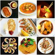 Cuisine of different countries collage - stock photo