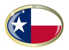 Texas State Flag Oval Button Piirros