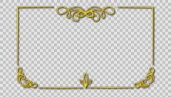 Classic animated frame gold Stock Footage