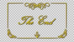 The end title inside gold classic growing frame  Stock Footage