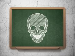 Healthcare concept: Scull on chalkboard background Stock Illustration