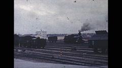 Vintage 16mm film, 1959, Finland, steam locmotive Stock Footage