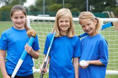 Portrait Of Girl's Hockey Team - stock photo