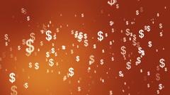 Broadcast Money Shower, Orange, Corporate, Loopable, HD Stock Footage