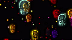Halloween Party Color Skulls 4K 05 Stock Footage
