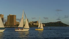Friday Night Sailboat Races Waikiki Honolulu, Hawaii Stock Footage