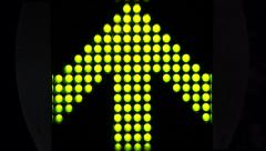 Green LED light arrow pointing up and moving fast upwards large arrow Stock Footage