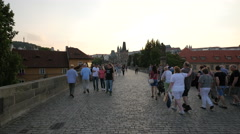 Lesser Town Bridge Tower and Judith's Tower seen from Charles Bridge, Prague - stock footage
