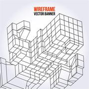 Stock Illustration of Wireframe Mesh Cubes.