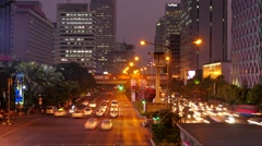 TIMELAPSE Traffic in evening,Jakarta,Java,Indonesia Stock Footage