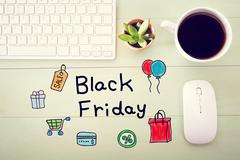 Black Friday message with workstation Stock Photos