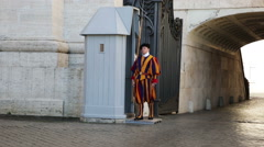Ritual of changing of guard Papal Swiss guard, standing at door in Vatican. Stock Footage