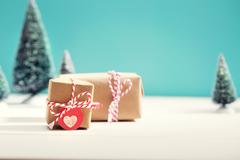 Little gift boxes in miniature evergreen forest - stock photo