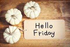 Hello Friday message with small white pumpkins Stock Photos