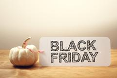 Black Friday message with a white pumpkin Stock Photos