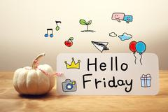 Hello Friday message with small pumpkin Stock Photos