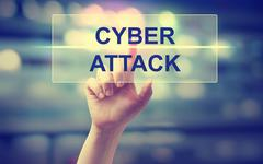 Hand pressing Cyber Attack Stock Photos