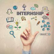 Hand pointing to Internship concept - stock photo