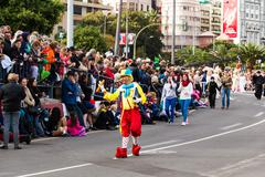 TENERIFE, FEBRUARY 17: Carnival groups and costumed characters, parade through - stock photo