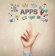 Hand pointing to Apps concept Stock Photos